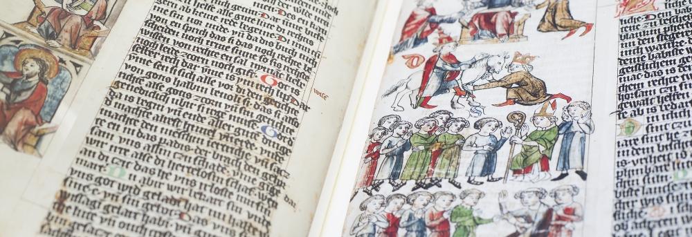 Faksimile der Wolfenbütteler Bilderhandschrift des Sachsenspiegels (Foto: Kulturhistorisches Museum Magdeburg)